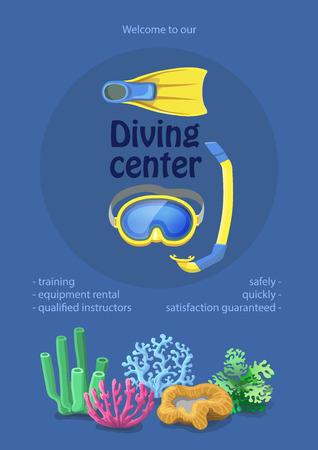 dive: Dive center design. diving mask, snorkel flippers on blue background. Swimming equipment