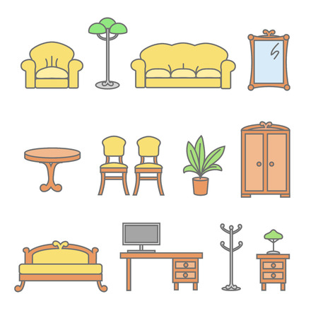 lamp outline: Furniture icons. Isolated flat furniture outline icons set. Bed and armchair, floor lamp, flower