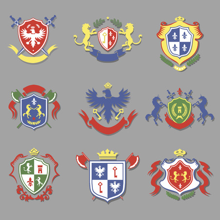 lily flower: coat of arms collection, set of heraldry shields design with lion, royal crown, eagle Illustration