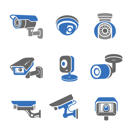 monitored area: Video surveillance security cameras graphic icons set isolated illustration