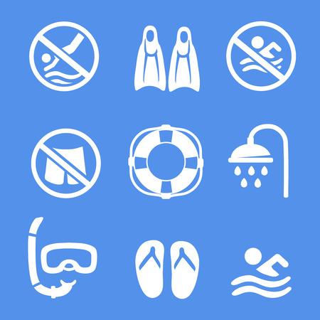 no swimming: Swimming, scuba diving, sport white icons set