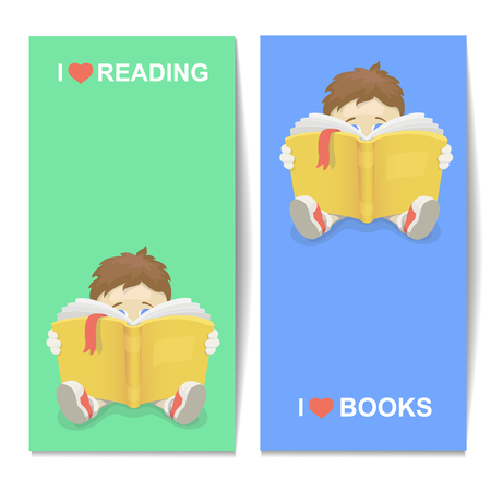 preppy: Boy reading a book illustration I Love books vertical banner. Kid learning