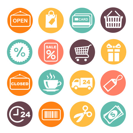 close icon: Shopping Icon and supermarket services colored buttons Set. Coffe, barcode, gift box, open, close