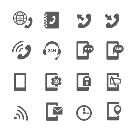 chat icons: phone icons mobile ring, battery, chat, lock and e-mail Stock Photo