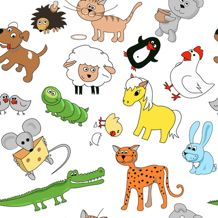 cartoon hare: Childrens drawings seamless pattern with animals. Whale and leopard, caterpillar and mouse, sheep and crocodile, vector illustration
