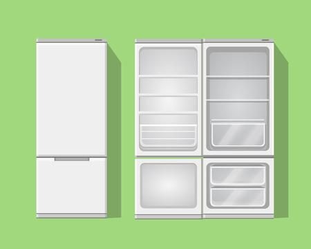 icebox: Illustration grey opened and closed empty refrigerator. Vector fridge icon
