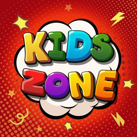 niños con pancarta: zona de niños diseño de la bandera. zona de juegos infantil. Niños lugar de etiqueta. bandera del vector