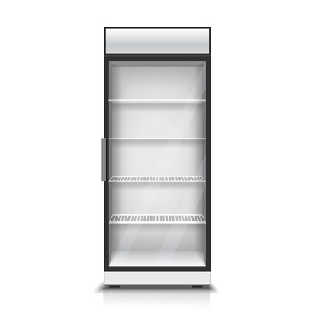 commercial kitchen: Modern vertical refrigerator for cooling drinks realistic isolated vector Illustration