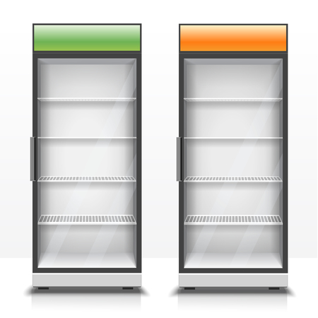 refrigerators: Two empty vertical refrigerators with transparent front panels for cooling drinks and eco products realistic vector Illustration Illustration