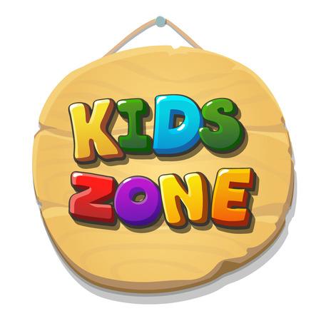 Niños Zona de signos o banner. zona de juegos infantil. Niños lugar de etiqueta. Vector ilustración de la bandera. Ilustración de vector
