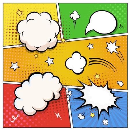 historietas: Cómic las burbujas del discurso. Un conjunto de elementos de diseño del libro de ilustración vectorial cómico colorido y retro. Vectores