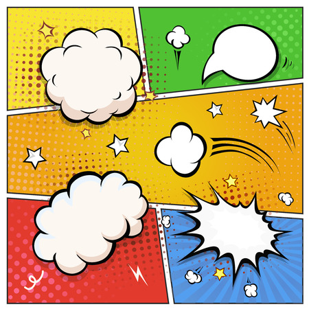 Comic Book Speech Bubbles. A set of colourful and retro comic book design elements Vector illustration.