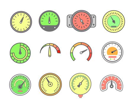 barometer: Vector line meter icon set. speedometers, manometers, Circular gauges Illustration