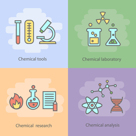 chemical reactions: Chemical laboratory concept with instrumentation glassware burners and experiments reactions and research isolated vector illustration