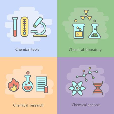 hidrógeno: concepto químico de laboratorio con quemadores de instrumentación cristalería y experimentos reacciones y aislado investigación ilustración vectorial Vectores