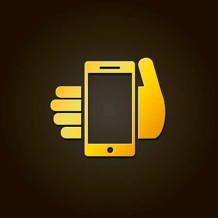 gprs: Mobile phone in hand - gold icon on black background Stock Photo