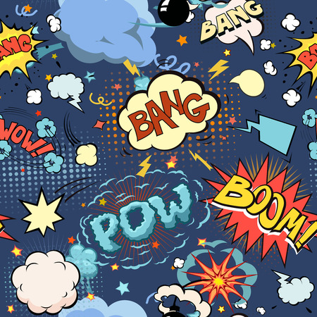pop background: Seamless pattern background with comic book speech bubbles s And Blast illustration Stock Photo