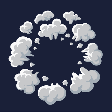 Smoke and dust explosion cartoon frame vector Ilustrace