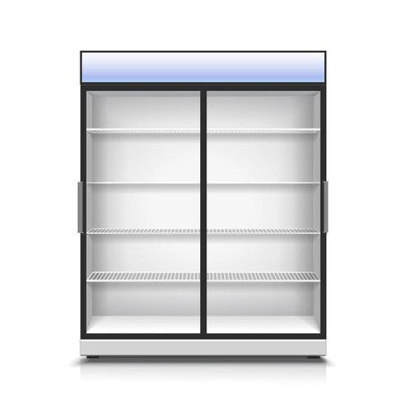 chiller: Empty vertical refrigerator for with two transparent front panels for cooling drinks and products isolated realistic vector Illustration