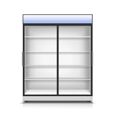 bebida: refrigerador vertical, vazio para com dois painéis frontais transparentes para bebidas e produtos de refrigeração isolado Ilustração realística do vetor Ilustração