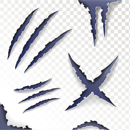 talon: Claws animal Scratches on a transparent background. Set. Vector illustration. Illustration