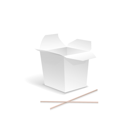 take out: Chinese food opened White take out noodle  box with chopsticks.  Container for fast food, asian lunch, isolated  illustration Stock Photo