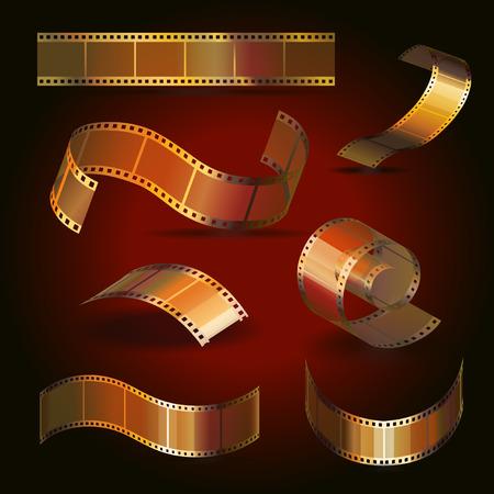 35 mm: Camera film roll gold color set, 35 mm, festival movie icons vector illustration