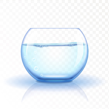 unoccupied: Realistic glass fishbowl, aquarium with water on transparent background. Vector illustration