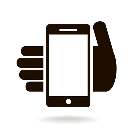 mobile phone icon: icon of mobile phone in hand isolated. smart phone sing