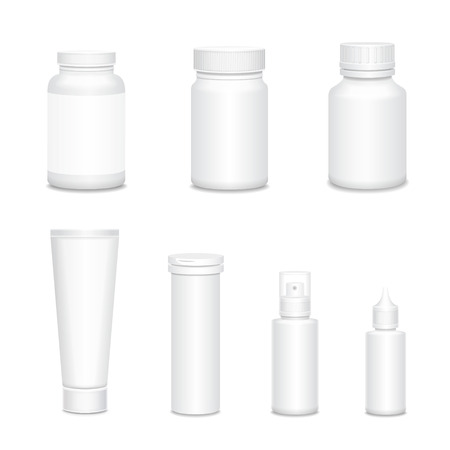 aching: Medicine blank white bottles set for sprays and pills realistic isolated vector illustration