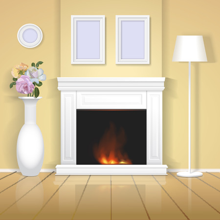 interior design home: Classic interior with fireplace illustration. Realistic home design Classic room vector with vase