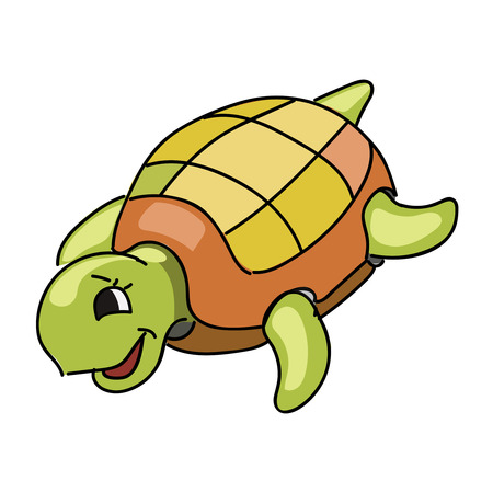 render: Cute turtle cartoon isolated on white background