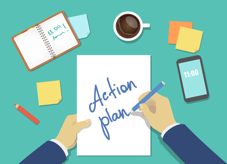 action plan: action plan list concept. businessman hands with pen, coffee and a sheet of paper