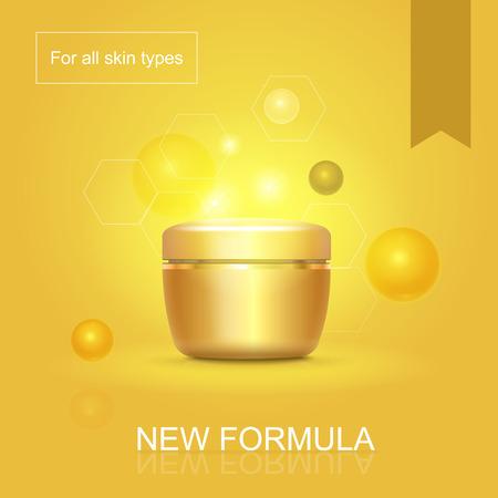 skin oil: Moisturizing face skin cream advertisement for all skin types with golden background poster illustration Illustration