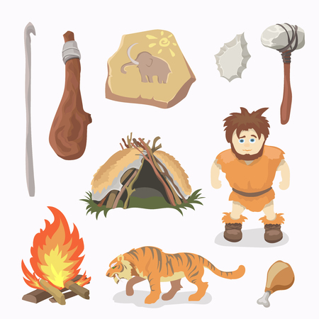 primitive: Stone Age icons Primitive man