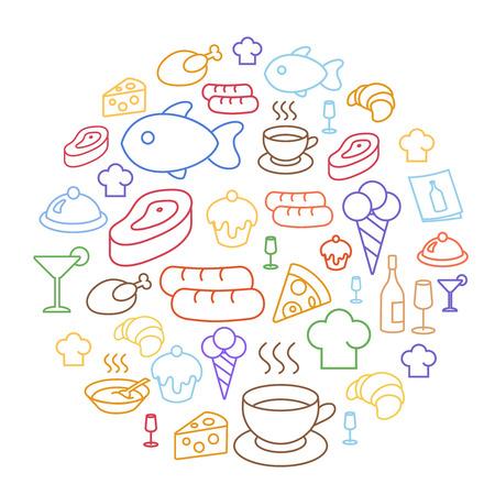 carne de pollo: Conjunto de iconos de los alimentos planos de trazado de líneas de forma circular. café, salchichas, croissants y queso, pizza, magdalena