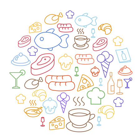 line drawing: Set of flat food icons drawing line Circular Shaped. coffee, sausage, croissant and cheese, pizza, cupcake