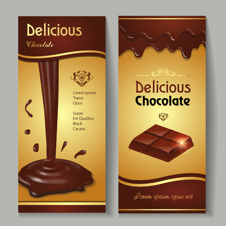 distinctive flavor: Delicious dark premium chocolate splashes and drops banners set realistic isolated illustration