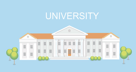 university campus: University or college building. Campus design, graduation university,  school illustration