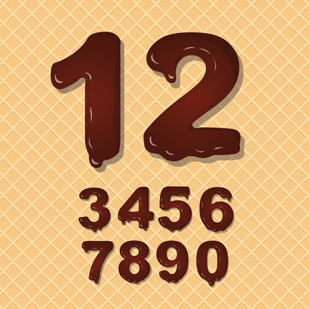 wafer: Set of Chocolate numbers set numeral font on wafer background Stock Photo
