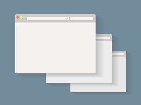 website window: Simple set of web browser window design for website presentation.
