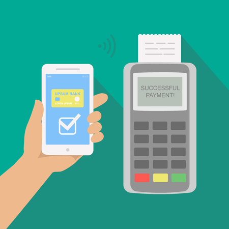 nfc: Mobile payment via smartphone. Human hand holds mobile phone with nfc to do contactless payment. Flat concept