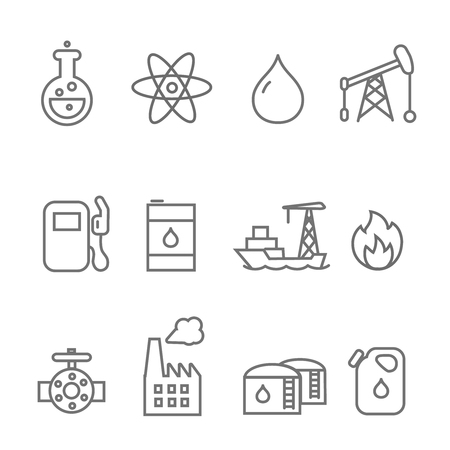 Oil and petrol industry line icon set. Tanker and fuel, energy industry