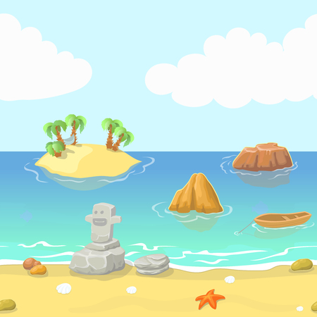 beach side: Seamless cartoon beach landscape with island ocean and mountain Illustration