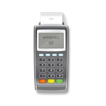 receipt: POS terminal. Terminal printing a receipt. Realistic vector