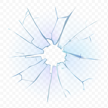 shattered glass: Broken transparent glass or frosted window pane on checkered plaid background. Vector illustration.