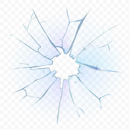 Złamany szkło przezroczyste lub matowe szyba na kratkę kratę tle. ilustracji wektorowych.