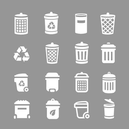 pail tank: Trash can and recycle bin icons. Garbage, rubbish,  illustration Stock Photo