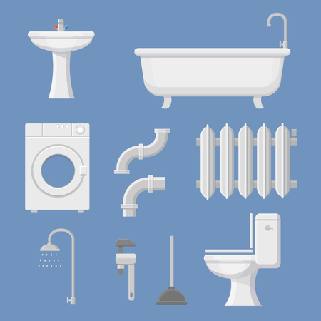 siphon: Vector Pipeline plumbing, heater system and Plumber service tools icons set vector illustration Illustration