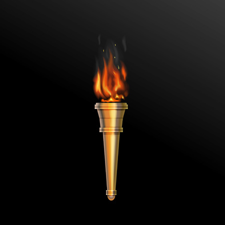 Realistic fire torch. illustration power flaming, heat and liberty flame